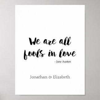 Póster Jane Austen personalizó cita romántica