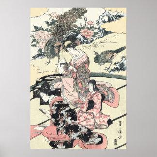 Póster Japonés Ukiyo-e Daimyo ningún okuzashiki por