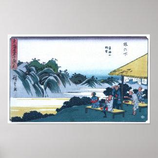 Póster Japonés Ukiyo-e de la montaña de Fudesute