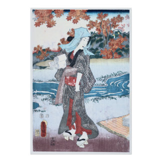 Póster Japonés Ukiyo-e Momiji al onna por Kunisada