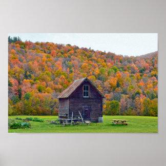 Póster Jardín de Vermont vertido en otoño