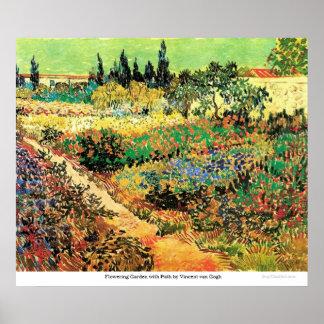 Póster Jardín floreciente con la trayectoria de Vincent