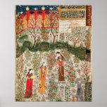 Póster Jardín persa, siglo XV (w/c en el papel)