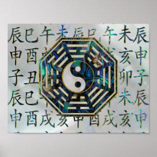 Póster Jeroglíficos del shui del feng de Bagua del olmo y