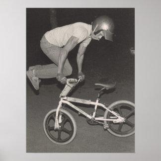 Póster Jinete del estilo libre de la escuela vieja BMX,