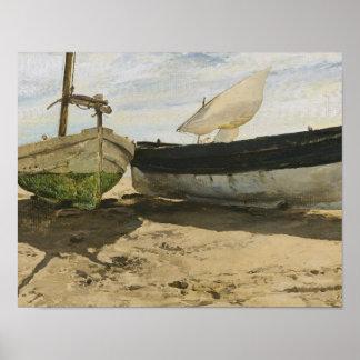 Póster Joaquín Sorolla - barcos de pesca en la playa