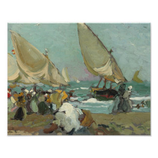 Póster Joaquín Sorolla - barcos en la playa de Valencia