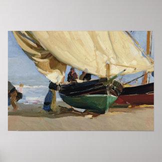 Póster Joaquín Sorolla - Pescadores. Varadas de Barcas