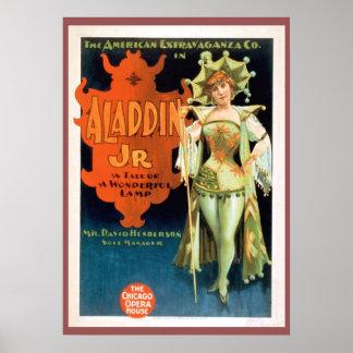 Póster JR poster de Aladdin del teatro del vintage