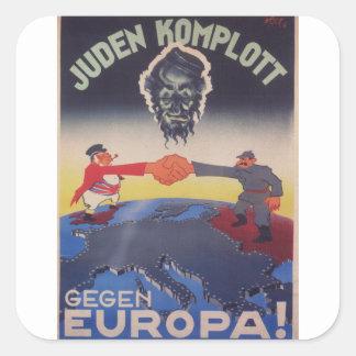 Poster judío de la propaganda de la conspiración pegatina cuadrada