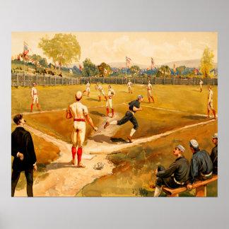 Póster Juego de béisbol del vintage