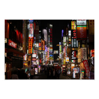 Póster Kabukichō, neónes de Tokio por noche