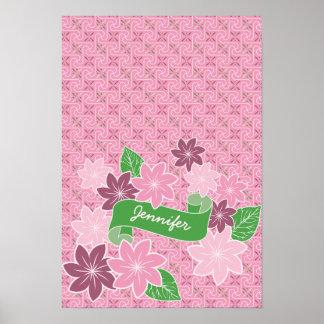 Póster Kimono rosado de Japón de la bandera del verde del