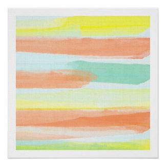 Póster La acuarela raya arte abstracto moderno