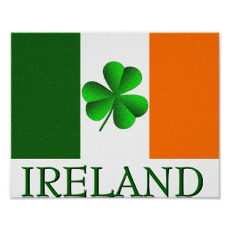 Póster La bandera del trébol de Irlanda del irlandés