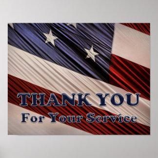 Póster La bandera patriótica de los veteranos militares