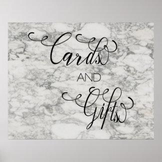 Póster La caligrafía de mármol carda los regalos que