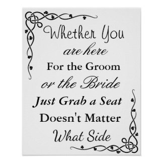 """Póster La carta del asiento del boda, sienta """"dondequiera"""
