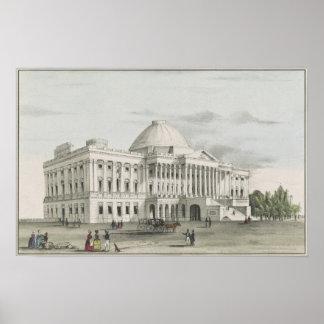 Póster La Casa Blanca, capitolio en la litografía de