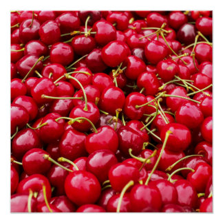 Póster la cereza roja linda deliciosa da fruto fotografía