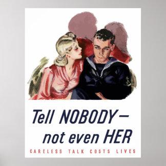 Póster La charla descuidada cuesta vidas -- WW2