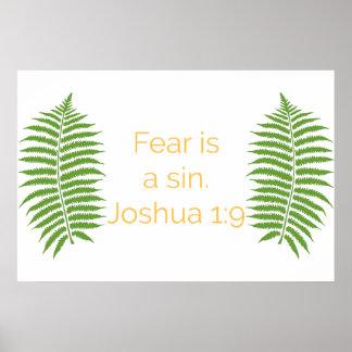 Póster La cita de la biblia, miedo es un pecado,