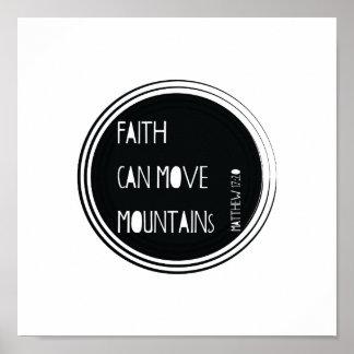 """Póster La """"fe puede mover verso de la biblia de las"""