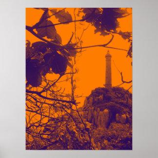 Póster La foto más alta más vieja del naranja del faro de