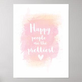 Póster La gente feliz es la acuarela más bonita