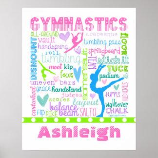 Póster La gimnasia en colores pastel personalizada