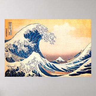 Póster La gran onda de Kanagawa