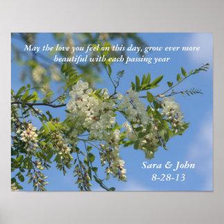 Póster La langosta blanca florece el poster del boda o de