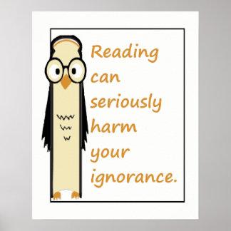 Póster La lectura puede dañar cita sabia del libro del