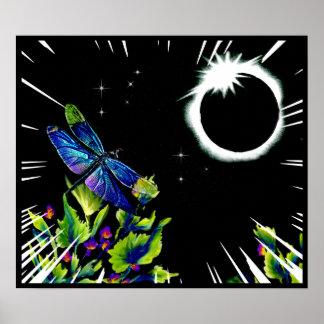 Póster La libélula observa el eclipse solar total 2017