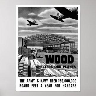 Póster La madera abriga nuestros aviones -- WWII