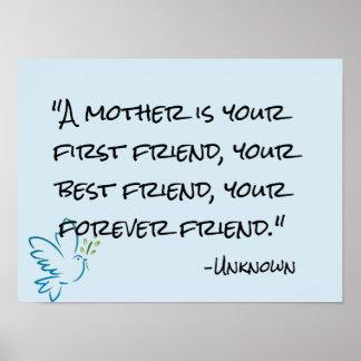 Póster la madre es su poster del día de madre del amigo