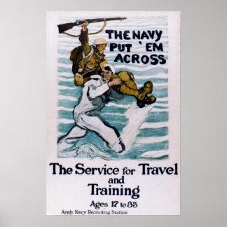 """Póster """"La marina de guerra los puso a través de """""""