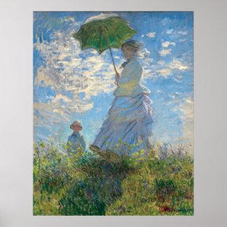 Póster La mujer de Monet restaurado con un parasol el