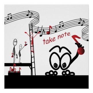 Póster La música divertida toma a músico de la nota el