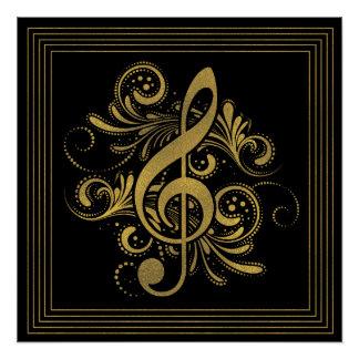 Póster La música observa forma del corazón en oro