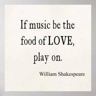Póster La música sea la comida de las citas de la cita de