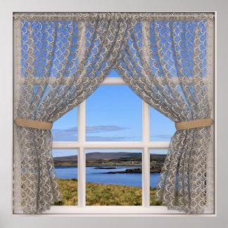 Póster La opinión bonita de la ventana con el cordón