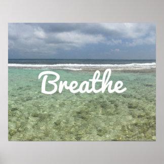"""Póster La playa de la yoga y de la meditación """"respira"""""""