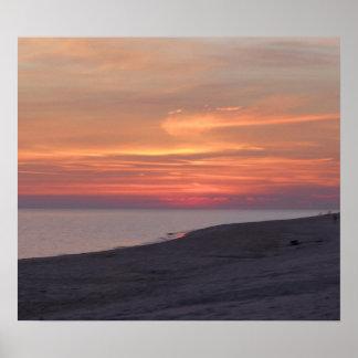 Póster la puesta del sol en el golfo apuntala Alabama