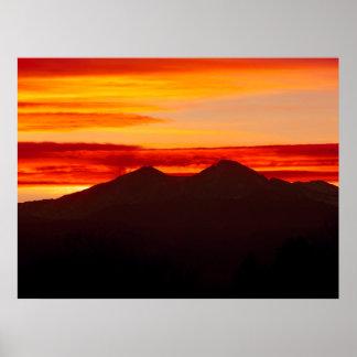 Póster La puesta del sol encima desea Colorado máximo