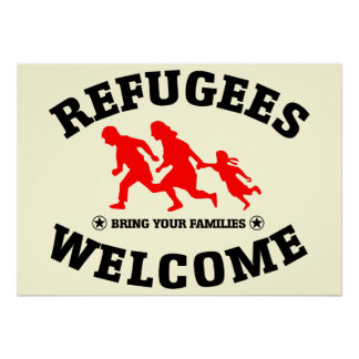 Póster La recepción de los refugiados trae a sus familias