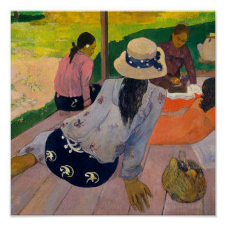 Póster La siesta de las mujeres Tahití de Paul Gauguin