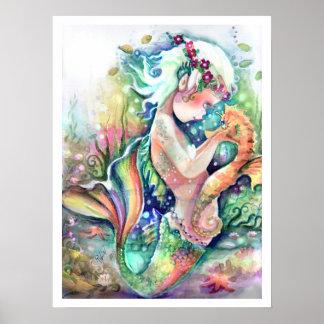 """Póster La """"sirena ama poster de su Seahorse"""""""