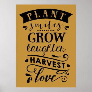 Póster La sonrisa de la planta crece el poster del amor