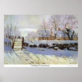 Póster La urraca de Claude Monet